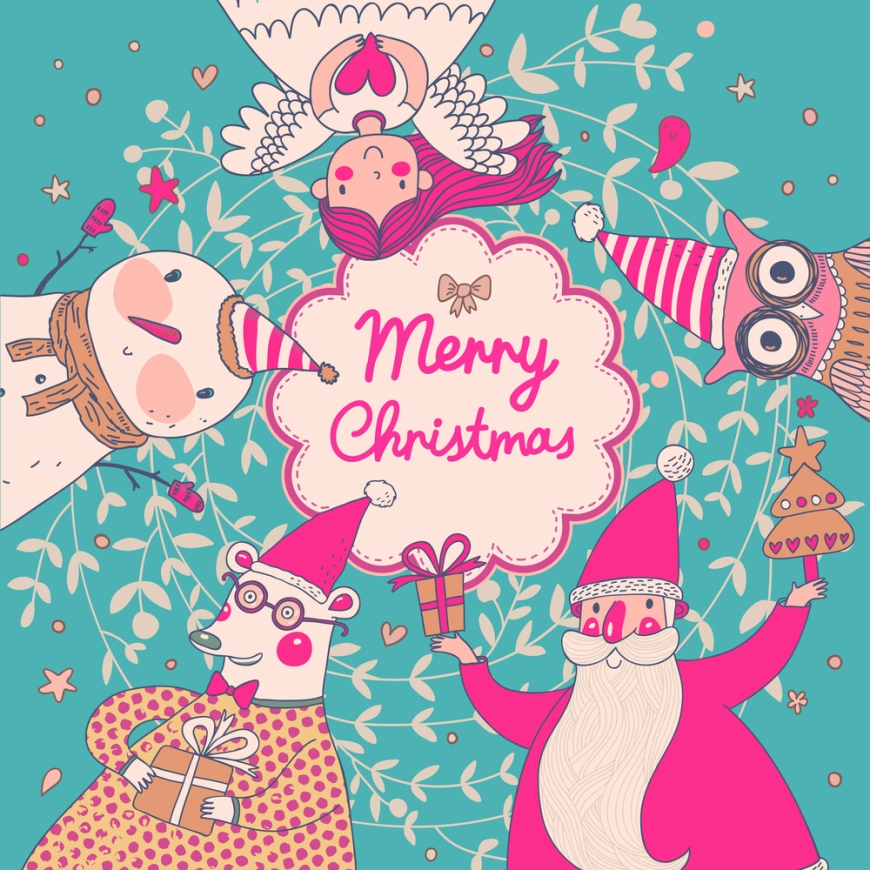 Stylish vector Merry Christmas card in bright colors. Cute Santa